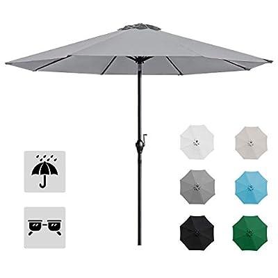 Homall 9' Patio Umbrella Table Umbrella Outdoor Market Straight Umbrella with Tilt Adjustment, 8 Sturdy Ribs (Gray)