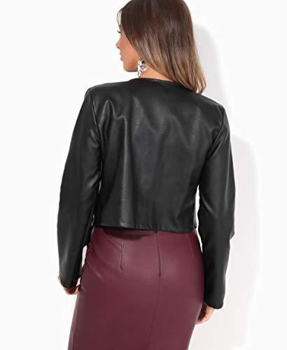 Krisp Women PU Leather Cropped Jacket Long Sleeve Bolero[4432-BLK-S] Black
