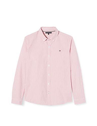 Tommy Hilfiger Jungen Seersucker Stripe Shirt L/s Hemd, Pink (Light Cerise Pink/Multi T1l), 3-4 Jahre (Herstellergröße: 4)
