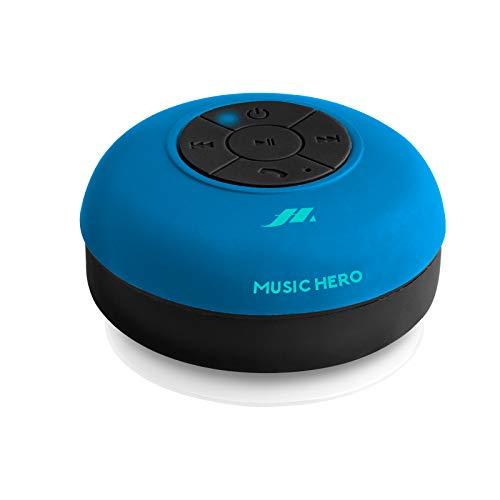 SBS Speaker 3W con Ventosa, Tasti per Musica e chiamate, Microfono Integrato e Vivavoce, protetto dall'Acqua per utilizzo in Doccia, Bagno, Piscina e Cucina