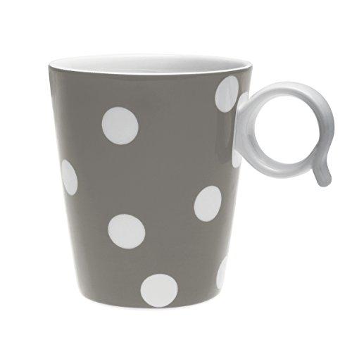 Bruno Evrard Mug à Pois Taupe en Porcelaine 32cl - Lot de 4 - Freshness Dots