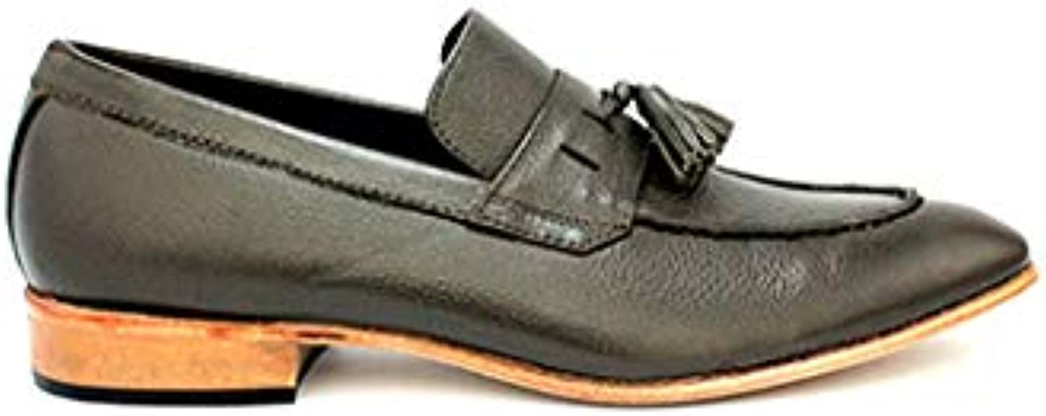 TAAVETTI Men's Casual Grey Handmade Leather Viridine Loafer shoes