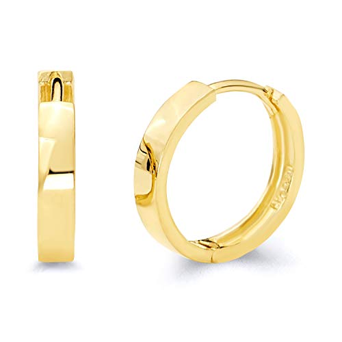 14k REAL Yellow Gold 3mm Thickness Hoop Huggie Earrings (14 x 14 mm) 14k Yellow Gold Hinged Hoop Earrings