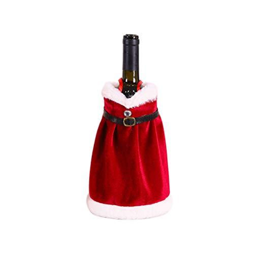 Pretyzoom - Sacchetti per bottiglie di vino di Natale, per bottiglie di vino rosso, a tema natalizio