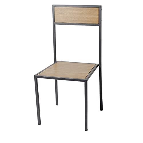 ADDECOR Sillas Comedor - Doha - 97 x 45 x 50 cm Estilo Industrial Vintage - Hierro y Madera - Color Negro - Madera Disponible en Diferentes Acabados - Diseño Loft - Sillas Nórdicas