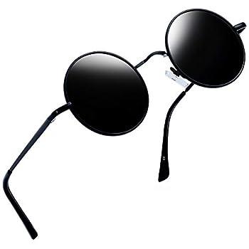 Joopin Polarized Lennon Round Sunglasses Women Men Circle Hippie Sun Glasses  Black Simple Packaging