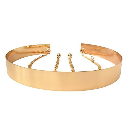 Cinturón de cintura de metal para mujer Espejo ancho Oro Dorado Plata Plateado Cadena llena Cadenas de pretina (4.5cm, Dorado)