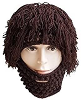 21f24c0b639 Amazon.com  Tinksky Wig Beard Hats Knit Beard Mask Warm Winter Caps Funny  Mask Beanie christmas gift for Men Women (Brown)  Clothing