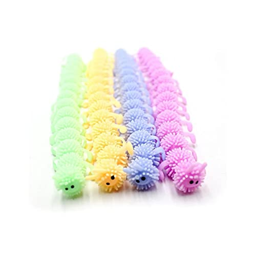 Onefa Squeeze Toys, Soft Rubber 16-Section TPR Caterpillar Children's Stretching and Decompression for Kids Adults Toy Stress Reliever Decor, Ideal for Stress and Anxiety Relief