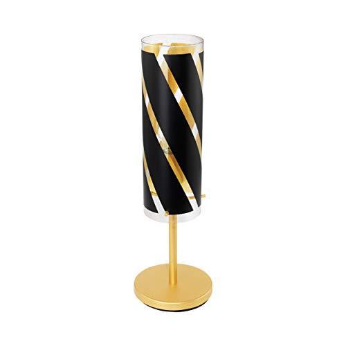 EGLO tafellamp Pinto Nero 1, 1 vlammige tafellamp, bedlampje van staal, kleur: goudkleurig, glas: zwart, goud, fitting: E27, incl. schakelaar