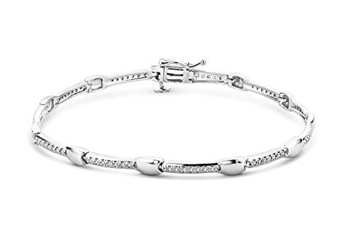 Miore Armband - Armreif Damen  Weißgold 9 Karat / 375 Gold Diamant Brillianten 0.23 ct 17.5 cm