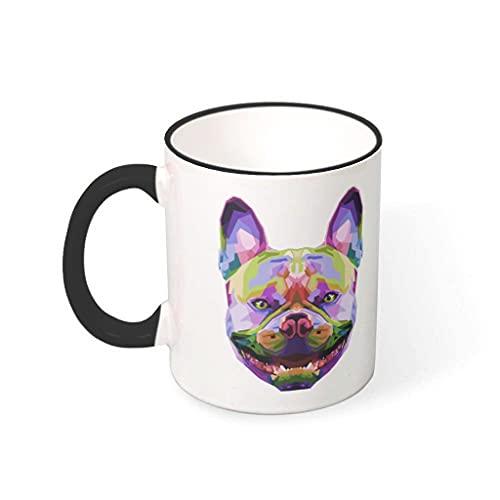 COMBON Shop Taza de café bulldog francés taza con mango cerámica personal taza negro 330ml