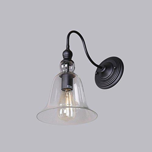 EUBeisaqi Vintage Semplice Bicchiere Luce a Muro Retro Lampada Campana Style-Trasparente