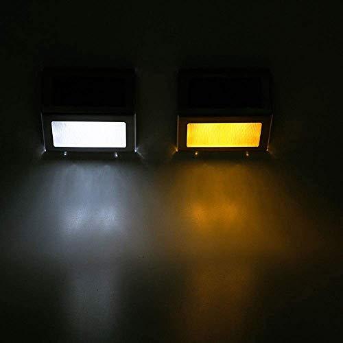 Muur Muur van de lantaarn Schijnwerper Solar Light leidde wandlamp buiten waterdichte RVS Ladder Lamp Garden Corridor Stair Licht 9,0 cm x 9,0 cm x 13,82 Cm warm (Kleur: Wit), Kleur: Zwart XIUYU