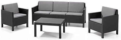 "\""Allibert by Keter\"" Gartenlounge Set Chicago mit 3er Sofa, graphit/cool grey, 4tlg., inkl. Kissen, Kunststoff, flache Rattanoptik"