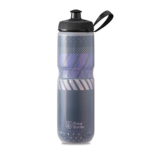 Polar Bottle Sport Insulated Water Bottle - BPA-Free, Sport & Bike Squeeze Bottle with Handle (Tempo - Charcoal & Black, 24 oz)
