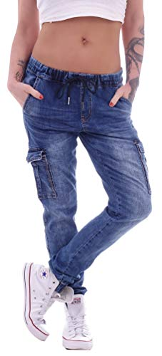 Damen Unisex Cargojeans Boyfriend Jeans Hose Cargo Baggy Hüftjeans Übergröße Blau M 38 gr größe Size Übergrößen Baggys Diverse Haremsjeans Baggypants Stretch mom Loose Fit Tief Taschen Cargos Cut