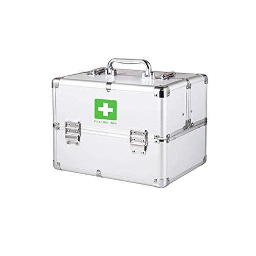 Portable Large First Aid Box Aluminium Lockable 3 Layer First Aid Case Storage Kit Medicine Cabinet Adjustable Shoulder Strap for Home,Travel Workplace Peng (Color : Silver, Size : M)