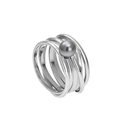 Heideman Ring Damen Serpens aus Edelstahl Silber farbend poliert Damenring für Frauen mit Swarovski Perle Weiss grau oder schwarz rund 6mm Perlring Black Gr.64 hr24268-3-16-64