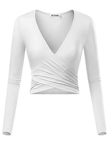 VETIOR Women's Deep V Neck Long Sleeve Unique Cross Wrap Slim Fit Crop Tops...