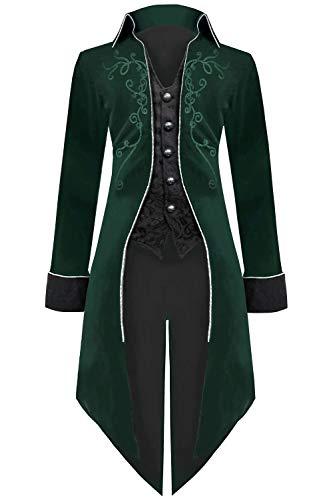Medieval Steampunk Tailcoat Halloween Costumes for Men, Renaissance Pirate Vampire Gothic Jackets Vintage Warlock Frock Coat (XXL, Green)