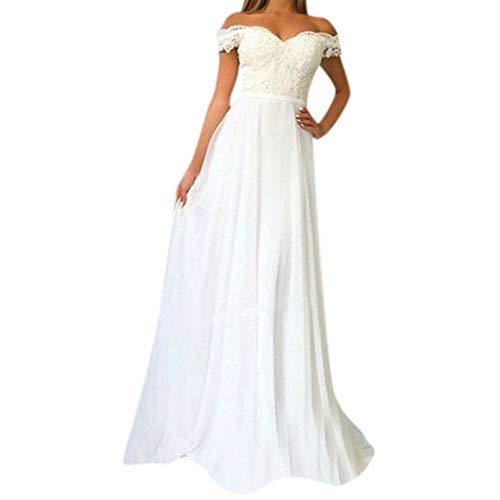 Fcostume Elegant Hochzeitskleid Damen Lang V-Ausschnitt Hochzeitskleider Spitze Chiffon Brautmode Rückenfrei Weiß Vintage Spitze A Linie Brautkleid Abendkleider