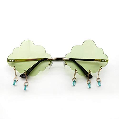 YUY Gafas de Sol Moda Nube de Lluvia Sin Marco Nubes Irregulares Borla Teñida Sin Marco Gafas Vintage Gafas Transparentes para Mujeres Hombres,H