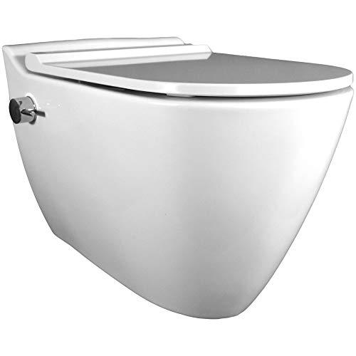 Dusch WC MINERAL, integrierter Mischarmatur, Taharet, Edelstahldüse, spülrandlos, antibakterielle Beschichtung, WC-Sitz