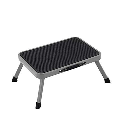 LIUCHANG Taburete plegable de acero de un paso taburete taburete portátil ligero con plataforma de goma antideslizante estable para niños adultos mayores en casa, cocina, baño, RV liuchang20