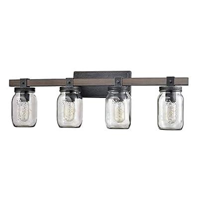 Vintage Four Light Bathroom Vanity Fixture with Glass Jar Shade