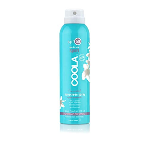 COOLA Organic Sunscreen & Sunblock Spray, Skin Care for Daily Protection, Broad Spectrum SPF 50, Reef Safe, Fragrance Free, 8 Fl Oz