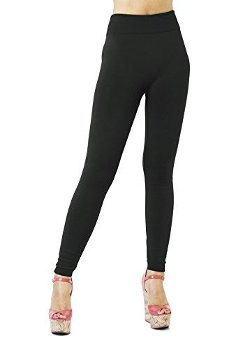 D&K Monarchy Women's Seamless Fleece Full Length Leggings, Black (Thick), L/XL (12-20)