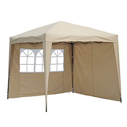 Angel Living Cenador Pop-Up Plegable 2.5 * 2.5m con 2 Lados de Telas, Gazebo con Bolsa De Transporte, Carpa Plegable para el Exterior (Beige)
