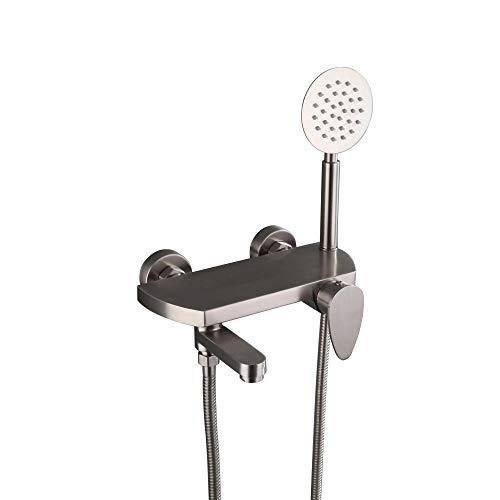 HomeLava Badewannenarmatur mit Handbrause Einhand-Wannenbatterie wannenarmatur inkl. Wandhalterung Duschsystem Duscharmatur Badewanne Wasserhahn für Bad Badezimmer, Edelstahl gebürstet