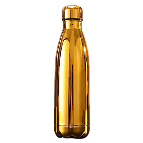 Botella De Agua, Cielo Estrellado 500ML / Taza Aislada del Frasco del Deporte De La Botella De Agua del Acero Inoxidable De La Galjanoplastia Dorado Enchapado