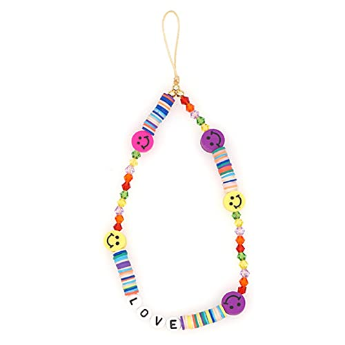 XBCGD Beaded Phone Lanyard Wrist Strap,Smiley Face Beaded Phone Charm,Anti Lost Cute Rainbow Colored Fruit Smiley Face Soft Ceramic Mobile Bracelet 28cm 27#