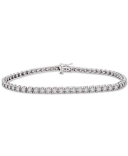 3.30Ctw ronde gesneden gesimuleerde diamant mannen Tennis armband 14K wit goud afwerking