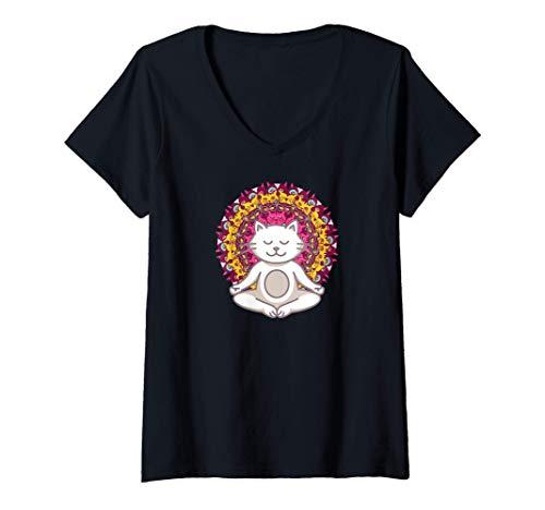 Mujer Meditación de los chakras del yoga Mandala Cat Gato Camiseta Cuello V