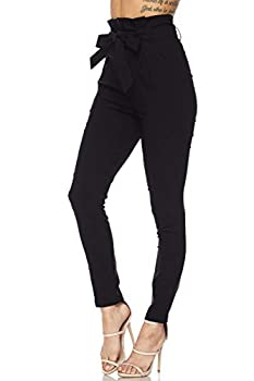 Love Moda Women s Casual High Rise Bow-Tie Paper Bag Waist Pants with Spandex Black