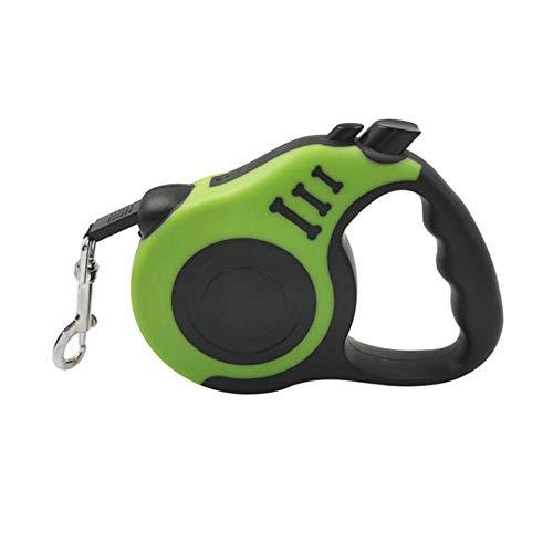 Qingsb automatische intrekbare hondenriem en geschikte halsband harnas set reflecterende nylon hondenriem outdoor hond D-ring kraag, 3m groene riem