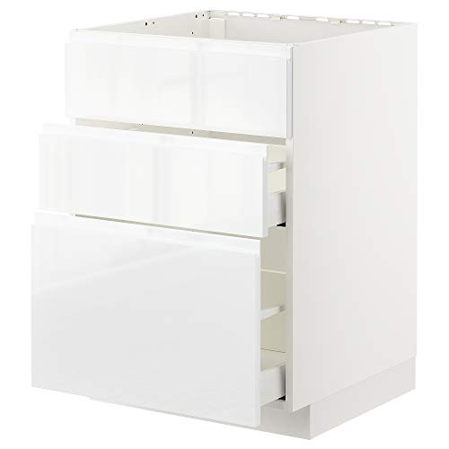 METOD/MAXIMERA cabina base f fregadero+3 frentes/2 cajones 60x62.1x88 cm blanco/Voxtorp alto brillo/blanco