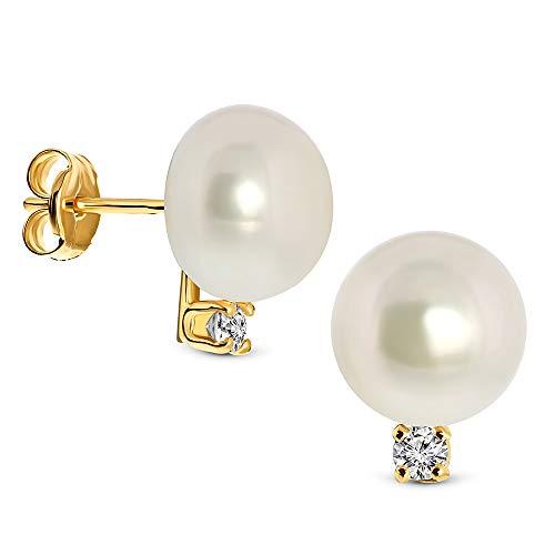 Miore Ohrringe Damen Gelbgold 14 Karat / 585 Gold Ohrstecker Süßwasserperlen