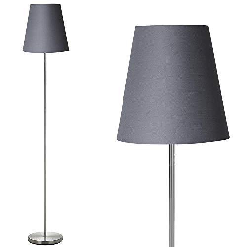 Bakaji Lámpara de pie de luz bombilla E27 máx. 60 W base redonda de metal cromado pantalla de tela diseño moderno encendido con pedal altura 150 cm (gris)
