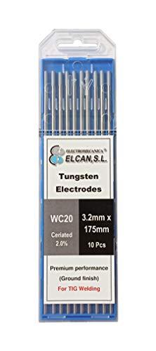 ELCAN Tungstenos soldadura TIG Cerio 2.0% Gris WC20 profesional, electrodos soldadura para torcha TIG de 1,0 1,6 2,0 2,4 3,2 mm, 10 unidades - Dimensiones: 3,2 x 175 mm