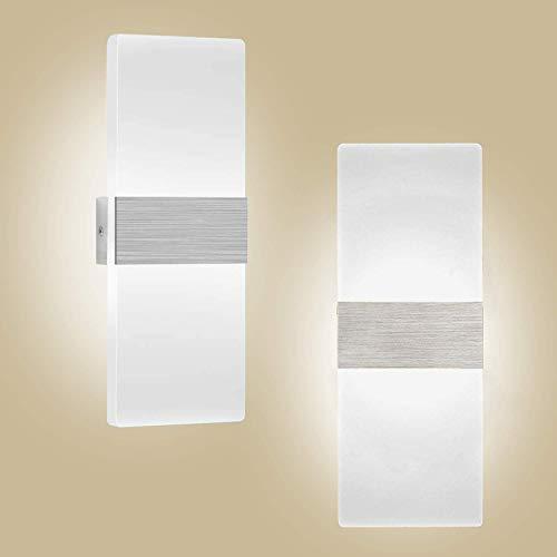 2 x Aplique Pared Interior 12W Kimjo, Blanco frio 6000K Lámpara de Pared Interior LED AC 220V, Lámpara de Pasillo en Acrílico Moderna para Corredor, Dormitorio, Escalera, Lámpara de Decoración