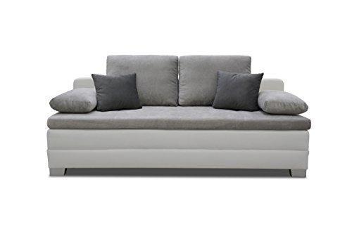 'Moderno sonno divano 'Noka per 2persone per cuscino. 2posti imbottito di Couch in lavorazione di alta qualità con funzione di biancheria. Set con onda sospensione per soggiorno, camera dei bambini, ecc., colore: grigio