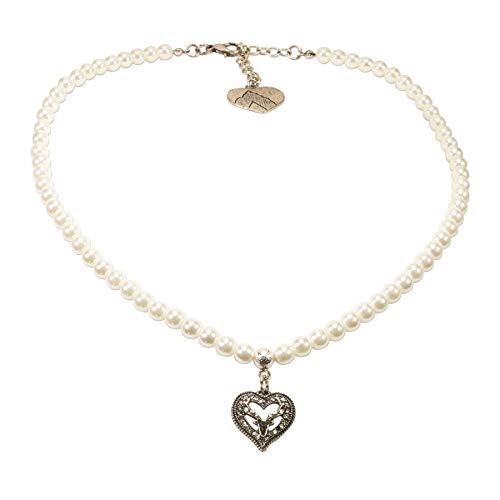 Alpenflüstern Perlen-Trachtenkette Strassherz Hirsch klein - Damen-Trachtenschmuck Dirndlkette Creme-weiß DHK238