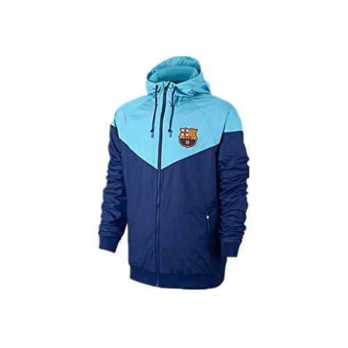 Men Football Training Jacket Barcelona Windbreaker Sun Protection Suit Windbreaker Coat Sportswear Spring Blue