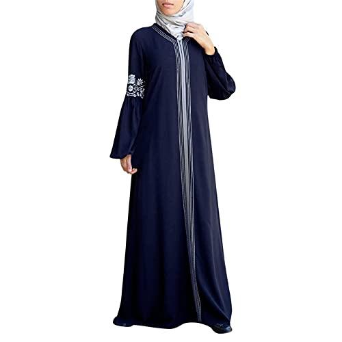 TWIFER Damen Muslim Maxikleid Bestickt Bautkleid Abendkleider Cocktailkleid Trompetenärmel Abaya Lange Robe Kleider Tunika Gürtel