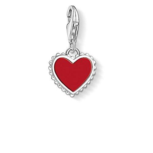 """Thomas Sabo - Colgante Charm de Mujer """"Corazón rojo Charm Club"""", Plata de Ley 925,"""
